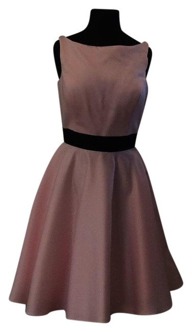 Item - Baby Pink/ Black A7965 Knee Length Cocktail Dress Size 12 (L)