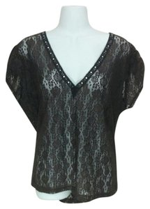 New York & Company Lace V-neck Beaded Sequin Top Brown