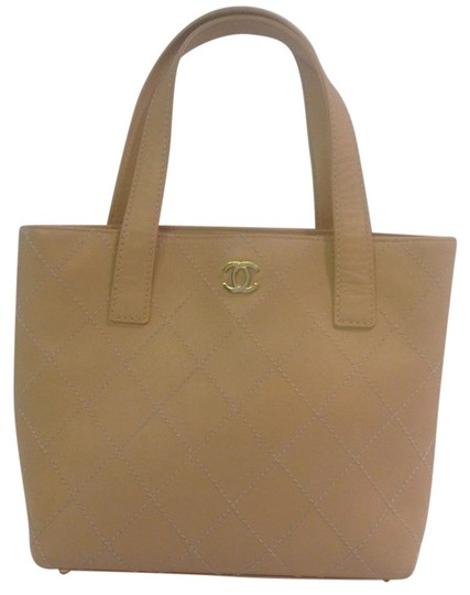 Chanel Shoulder Vintage Quilted Leather Tote in Beige