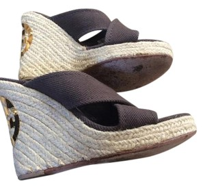 Tory Burch Wedge Canvas Brown Wedges