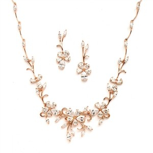 Elegant Crystals Rose Gold Vine Necklace & Earrings Jewerly Set