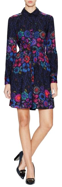 Item - Floral Button Up Lace Shirtdress Above Knee Short Casual Dress Size 8 (M)