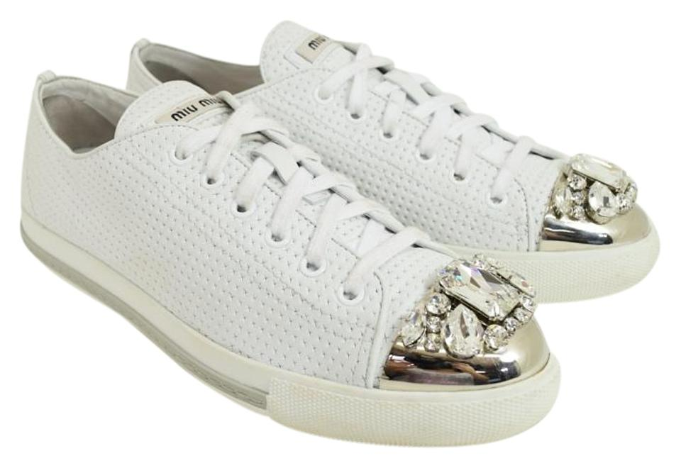 3236f73c3de1 Miu Miu White Leather Crystal Jeweled Cap Toe Sneaker Oxford 39 ...