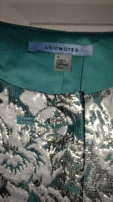 Anthropologie teal white gold Blazer