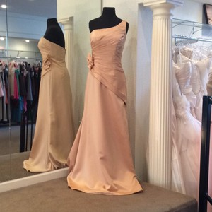 Mori Lee Cognac Satin Formal Bridesmaid/Mob Dress Size 8 (M)