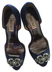 Badgley Mischka Satin Leather Sole Peep Toe Crystal Adorned Stiletto Royal Blue Formal