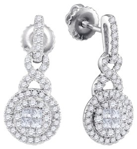 Other LUXURY DESIGNER 14k WHITE GOLD 0.50 CTTW SOLIEL DIAMOND FASHION EARRINGS by BrianGdesigns