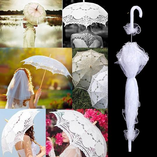 White Bridal Umbrella with Ruffles Other Image 1