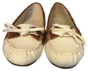 ALDO Cream canvas and brown leather Flats