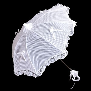 White Bridal Wedding Umbrella With Bow Accent