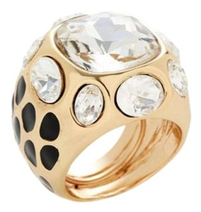 Kenneth Jay Lane KJL 22K Gold Square Crystal Cocktail Ring
