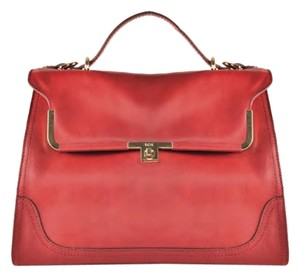 Raoul Leather Gold Hardware Removable Strap Top Handle Satchel in Red