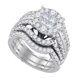 Luxury Designer 14k White Gold 2.51 Cttw Soliel Diamond Engagement Ring Bridal Set