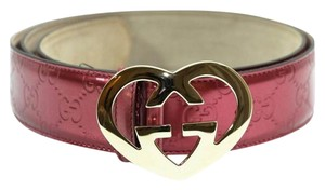 Gucci GUCCI 245856 Shine GG Guccissima Leather Belt with Heart-Shaped Interlocking G Buckle 95-38