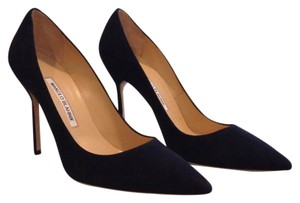 Manolo Blahnik Navy Suede Pumps