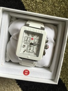 Michele NWT Michele Park Jelly Bean Silve and White watch MWW06L00001