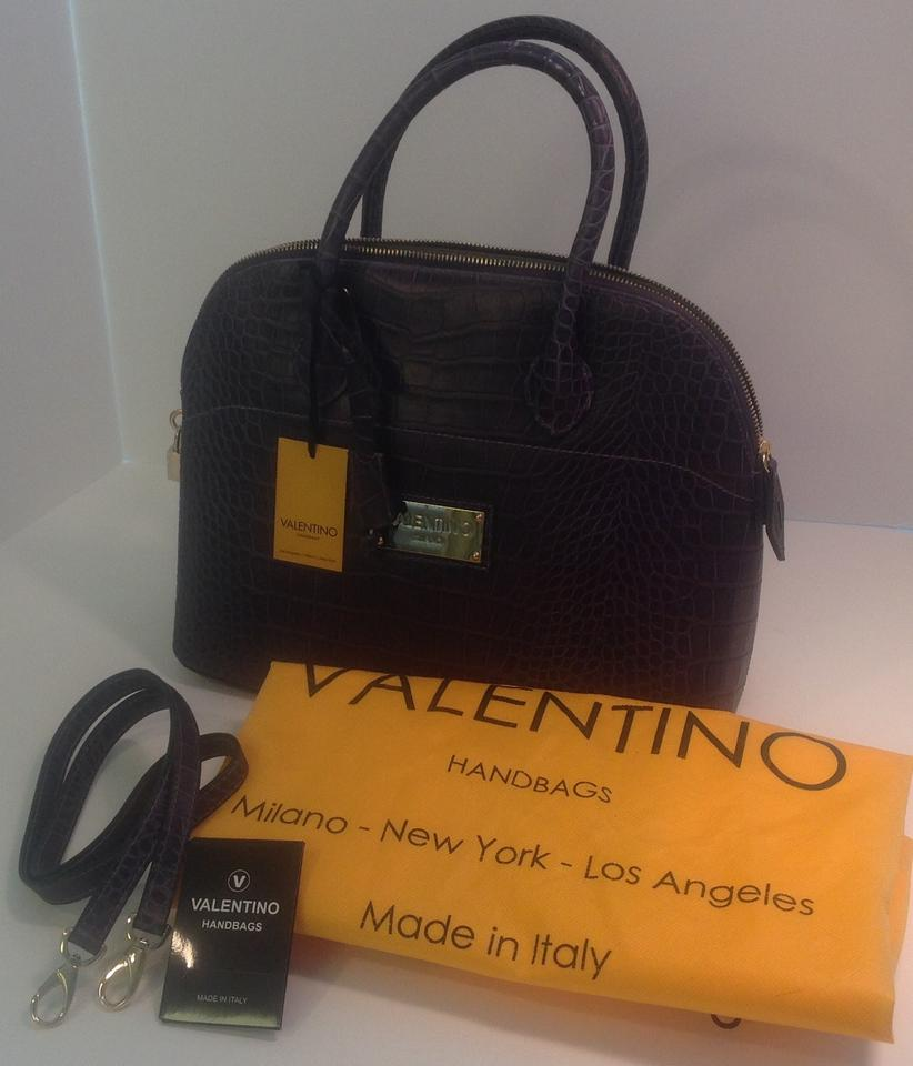 Mario Valentino Copia With Gold Toned Hardware Purple Saffiano Leather Shoulder Bag Tradesy
