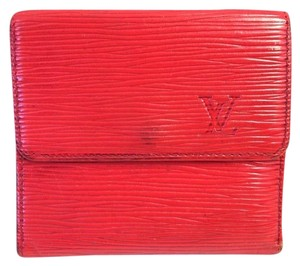 Louis Vuitton Louis Vuitton #7121 Monogram red Epi Leather Double Sided Sqaure Wallet Pocket Bill Holder Card Case Coin Purse