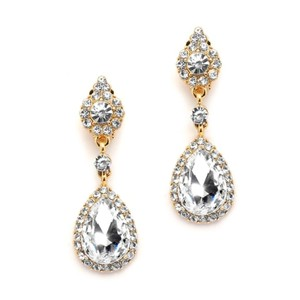 Mariell Gold And Crystal Clip-on Earrings With Teardrop Dangles 4532ec-cr-g