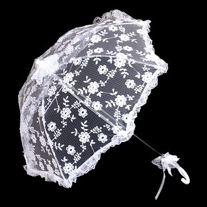 White Bridal Wedding Umbrella Floral Lace