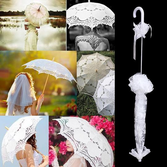 White Bridal Umbrella Floral Lace Other Image 1