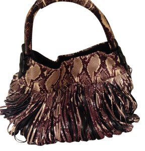 Katherine Kwei Donna Donna Tote Lambskin Fringe Knots Satchel in Snake - black, tan, brown, white