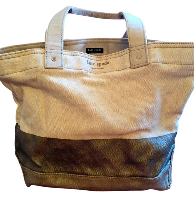 Item - Take A Dip Tan and Gold Canvas Tote