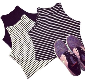 & Other Stories Top Black with white striped