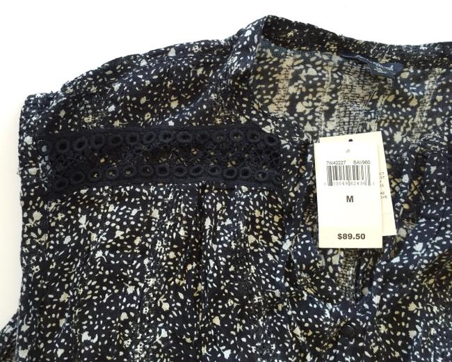 Lucky Brand Sleeveless Pattern Button Down Shirt Black & White Floral Image 3