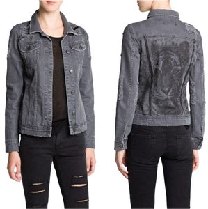 Mango Ripped Tiger Print Denim Womens Jean Jacket