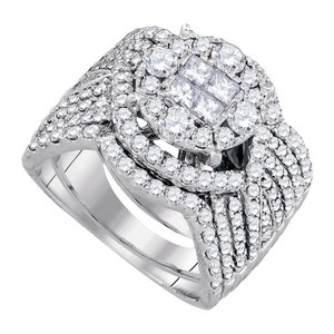 Luxury Designer 14k White Gold 2.52 Cttw Soliel Diamond Engagement Ring Bridal Set