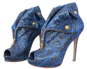 Alexander McQueen Open Toe Snakeskin Python Ankle Blue Boots