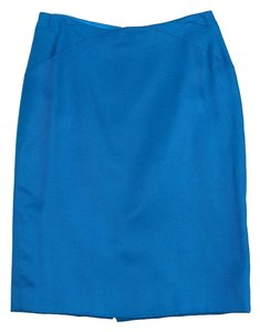 Versace True Blue Textured Silk Skirt