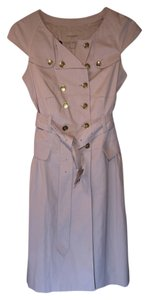 Burberry A-line Cap Sleeves Wrap Belted Trench Double Breasted Career Pleated Dress