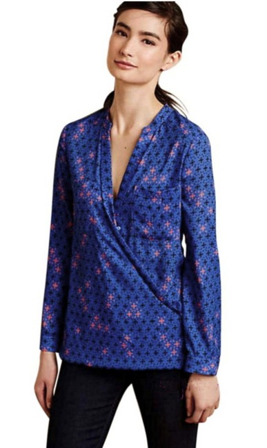 Anthropologie Long Sleeves Wrap Front Sleek Not Bulky Cool Print Super Easy Care Top NWT Blue Image 1
