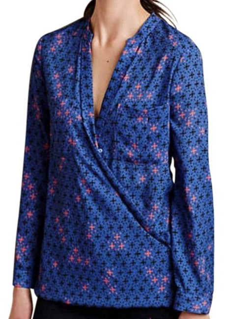 Anthropologie Long Sleeves Wrap Front Sleek Not Bulky Cool Print Super Easy Care Top NWT Blue Image 2