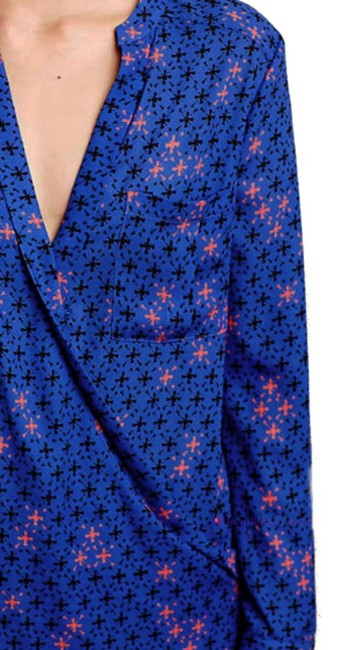 Anthropologie Long Sleeves Wrap Front Sleek Not Bulky Cool Print Super Easy Care Top NWT Blue Image 3