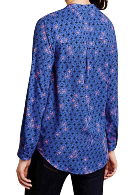 Anthropologie Long Sleeves Wrap Front Sleek Not Bulky Cool Print Super Easy Care Top NWT Blue Image 4