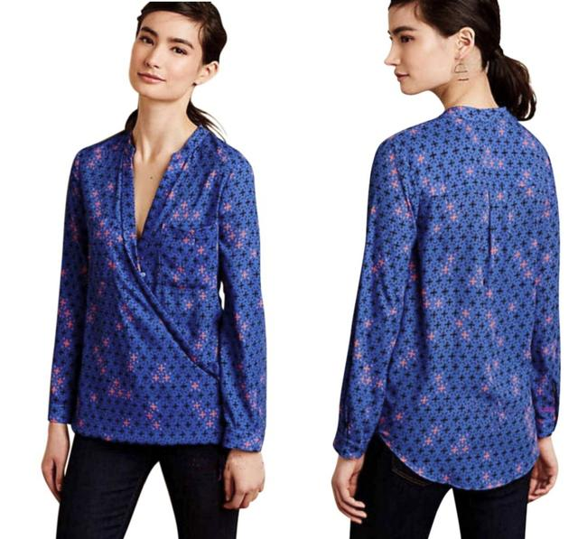 Anthropologie Long Sleeves Wrap Front Sleek Not Bulky Cool Print Super Easy Care Top NWT Blue Image 6