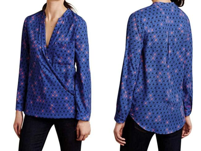 Anthropologie Long Sleeves Wrap Front Sleek Not Bulky Cool Print Super Easy Care Top NWT Blue Image 7