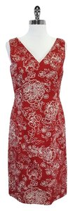 David Meister short dress Red & White Cotton Floral Sleeveless on Tradesy
