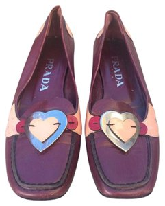 Prada Loafer Leather Burgundy Flats