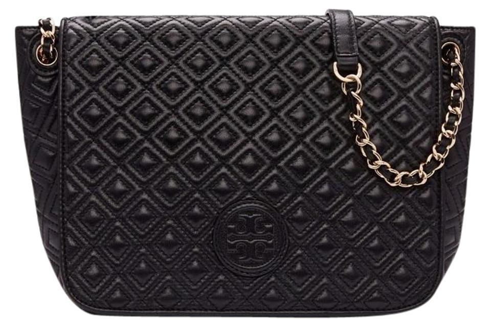 62d27a57ef0a Tory Burch Marion New Large Quilted Flap Chain Purse Black Leather ...