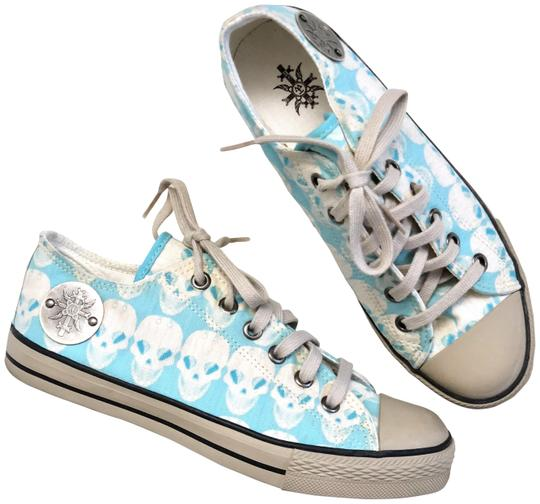 Preload https://img-static.tradesy.com/item/16759207/thomas-wylde-turquoise-blue-white-tan-skull-print-canvas-sneakers-rare-sneakers-size-us-6-regular-m-0-3-540-540.jpg