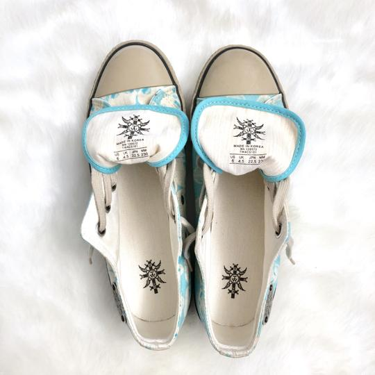 Thomas Wylde Skulls Sneakers Canvas Summer Hollywood Turquoise Blue White Tan Athletic