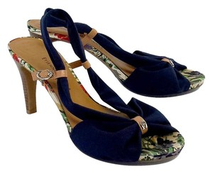 Etienne Aigner Navy Bow Slingback Peep Toe Sandals