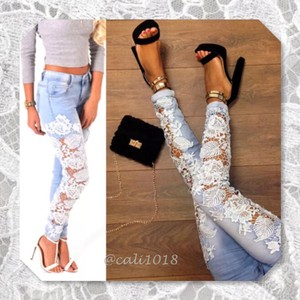 Lace Light Wash Sexy Skinny Jeans