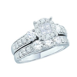 Luxury Designer 14k White Gold 1.50 Cttw Soliel Diamond Engagement Ring Bridal Set