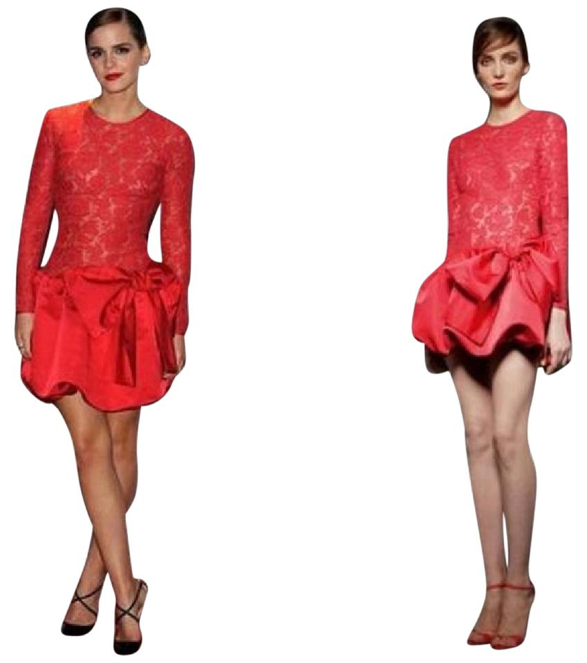 Valentino Red Lace and Satin Silk Bow Emma Watson Short Cocktail ...