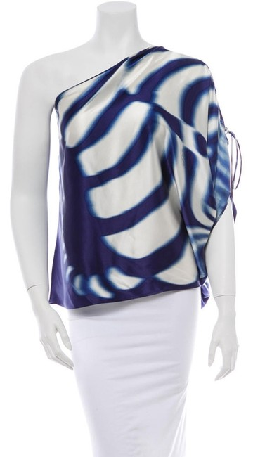 Preload https://item3.tradesy.com/images/roberto-cavalli-blue-and-white-blouse-size-8-m-1675997-0-0.jpg?width=400&height=650
